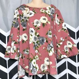 Green Envelope Floral Bell Wide Sleeve 2XL Top G